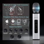MCHATTE Bluetooth Karaoke Microphone, Wireless Portable Handheld Karaoke Machine for Party/Meeting/Speech, Built-in Speaker, Reverb Treble Bass Control, for Android/iOS/PC (Silver) 1