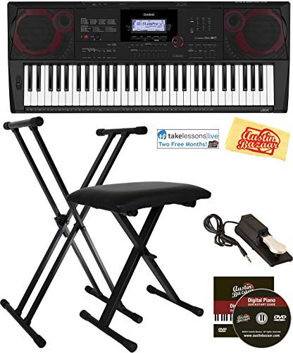 Casio Keyboard Bundle with Adjustable Stand, Bench, Sustain Pedal, Online Lessons
