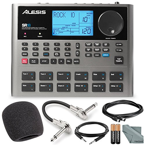 Alesis 18 Bit Portable Drum Machine with Effects and Accessory Bundle w/Cables