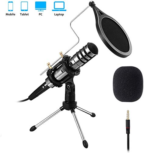 Recording Microphone, EIVOTOR 3.5mm Condenser Microphone Plug and Play