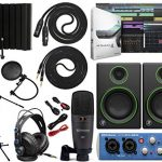 Presonus AudioBox 96 Audio Interface Bundle with Studio One Artist Software Pack with Mackie CR3 Pair Studio Monitors and 1/4″ TRS to TRS Instrument Cable and Microphone Isolation Shield