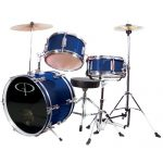 GP Percussion Complete Junior Drum Set (Blue, 3-Piece Set)