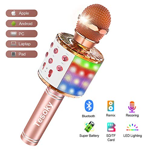Wireless Bluetooth Karaoke Microphone with Multi-color LED lights