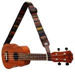 MUSIC FIRST Classic Country style Soft Cotton & Genuine Leather Ukulele Strap Ukulele Shoulder Strap Version 2.0 With a MUSIC FIRST Genuine Leather Strap Locker 1