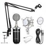 ZINGYOU BM-8000 Professional Studio Condenser Microphone Set, XLR Condenser Mic Bundle for Recording (Black)