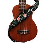 """MUSIC FIRST Original Design """"Dark Night Garden"""" Soft Cotton & Genuine Leather Ukulele Strap Ukulele Shoulder Strap With a MUSIC FIRST Genuine Leather Strap Locker 3"""