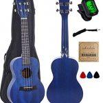 Vizcaya UK23C-BU Concert Ukulele Mahogany 23 inch with blue stain finish with Ukulele Accessories, Gig Bag, Strap, Nylon String, Electric Tuner, Picks