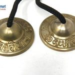 """Tingsha Cymbals -""""Om Nama shiva"""" Mantra engraved Tingsha Cymbals for Meditation,Pray,Yoga,Sound healing, 2.25″ Tingsha Bell joined by Nylon Strap, Brass made by Thamelmart 1"""