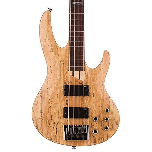 ESP LTD FL Spalted Maple Fretless Bass Guitar, Natural Satin