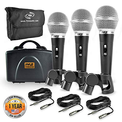 Pyle 3 Piece Professional Dynamic Microphone Kit Cardioid Unidirectional Vocal