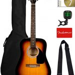 Fender FA-115 Dreadnought Acoustic Guitar – Sunburst Bundle with Gig Bag, Tuner, Strings, Strap, and Picks
