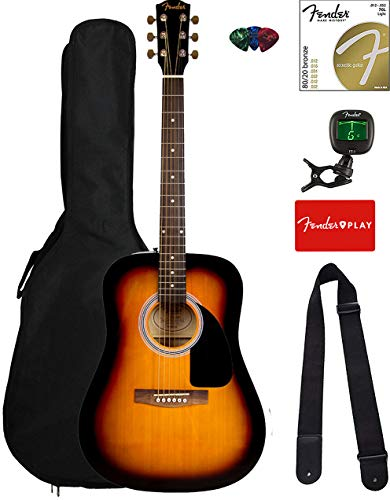 Fender FA-115 Dreadnought Acoustic Guitar - Sunburst Bundle with Gig Bag