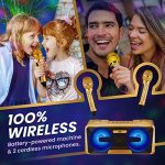 KaraoKing New 2020 Karaoke Machine – for Adults and Kids – 2 Wireless Karaoke Microphone, SD Card, USB, Bluetooth Compatible, LED Lights – Home, Bachelor Party, Picnic, Outdoor/Indoor [G301 Gold] 1