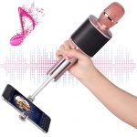 Wireless Bluetooth Karaoke Microphone, Mbuynow TWS Portable Handheld Kids Karaoke Mic with Speaker Phone Holder for Kids Adults Home Party for iPhone/Android/Smartphone
