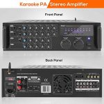 Pro 1000-Watt Portable Wireless Bluetooth – Stereo Mixer Karaoke Amplifier System with Dual Mic / RCA Audio / Video Inputs, Speaker Output for Instant Home Karaoke, DJ Party – Pyle PMXAKB1000 1