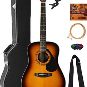 Yamaha Dreadnought Acoustic Guitar - Tobacco Sunburst Bundle with Hard Case