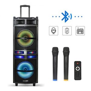 Starqueen Karaoke Speaker PA System with Dual 10Inch Subwoofer Portable