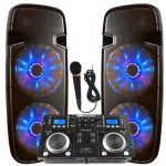 Light up the house! – Dj System – Lighted Powered Dual 15″ DJ Speakers – 4000 Watts – Bluetooth, MP3, USB, SD, FM Radio or plug in your laptop or iPhone – Plug and Play – Light Show Included