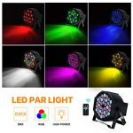 UP Lights, Missyee 36 X 1W RGB LED DJ Lights Sound Activated Stage Lights Package with Remote Compatible with DMX-512 Controller, 9 Modes LED DJ Lights for Wedding Birthday Party Club (4 Pack) 1