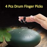 YoWin Steel Tongue Drum Finger Picks, 4 Pcs Handpan Finger Sleeves for Percussion instrument (Black) 3