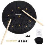 Sonart 10 Inch High Carbon Steel Tongue Drum, 11 Notes Steel Pan Drum
