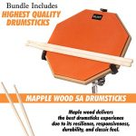 Practice Pad Bundle 12 inches – Drum Pad Double Sided with Drumsticks and Carry Bag With Two Different Surfaces for Snare Drum Practice – Silent Drum Double Sided Practice Pad 3