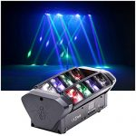 HSL Moving Head Light, DJ Spider Light Beam RGBW 4 Color DMX512 Control, Sound Activated, for Club Lights, Disco, Family Party, Wedding, DJ Scene 1