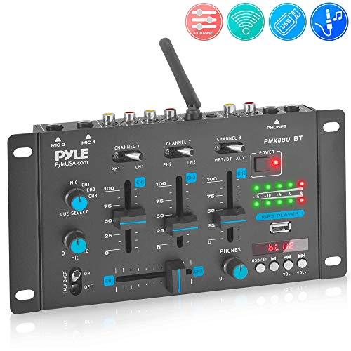Wireless DJ Audio Mixer - 3 Channel Bluetooth Compatible DJ Controller