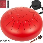 Happybuy Steel Tongue Drum 11 Notes 12 inches Mini Tongue Drum Red Handpan