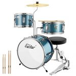 Eastar 14 inch Kids Drum Set Age 5 Real 3 Pieces with Throne, Cymbal, Pedal & Drumsticks, Metallic Sky Blue (EDS-180SB)