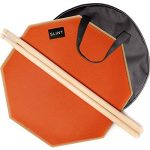 Practice Pad Bundle 12 inches – Drum Pad Double Sided with Drumsticks and Carry Bag With Two Different Surfaces for Snare Drum Practice – Silent Drum Double Sided Practice Pad
