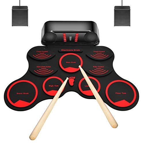 M-MASTER 10 Pads Electronic Drum Set, Roll Up Electric Drum Set