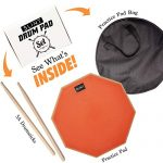 Practice Pad Bundle 12 inches – Drum Pad Double Sided with Drumsticks and Carry Bag With Two Different Surfaces for Snare Drum Practice – Silent Drum Double Sided Practice Pad 2