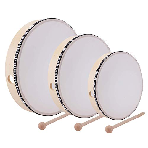 Foraineam 12 Inch & 10 Inch & 8 Inch Hand Drum Kids Percussion Wood Frame