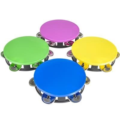 Neon Tambourines Set of 4, Colorful Party Favors