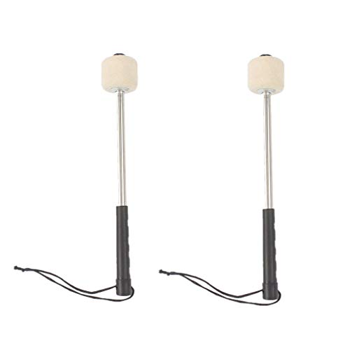 White Felt Head Percussion Mallets Timpani Sticks with Stainless Steel Handle suit