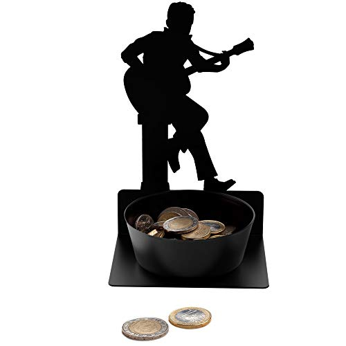 Artori Design Guitarist Coin Holder - Guitar Pick Holder - Metal Black Guitar Player Figure with Bowl for Small Change - Home Decor Coin Bank - Coffee Table Decor - Tip Jar - Guitar Accessories