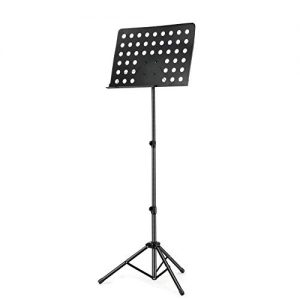 Emovendo Professional Music Stand for Music Sheet and Instrument Books, Laptop Stand Collapsible Metal Sheet Music Stand with Adjustable height, Heavy Duty and Stable, Black