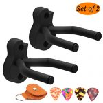 Guitar Wall Hanger Guitar Wall Mount 2 Pack Acoustic Guitar hook Black Guitar Holders for Most sizes Guitars Bass Ukulele Mandolin