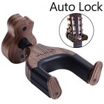 Guitar Wall Mount Hanger Auto Lock, Ohuhu Guitar Hanger Wall Hook Holder Stand for Bass Electric Acoustic Guitar, Black Walnut