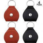 4 Pieces Guitar Picks Holder Case Leather Case Key Chain Plectrum Case Bag (Black, Brown)