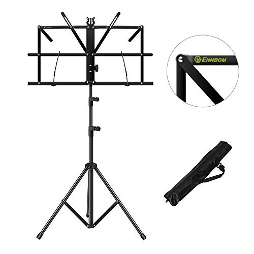 ENNBOM Music Stand Portable Folding Sheet Music Stand Adjustable Music Sheet Clip Professional Music Holder with Carry Bag