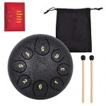 EastRock Steel Tongue Drum, 8 Notes 6 Inch Pan Drum Percussion Steel Drum Instrument with Mallets, Mallet Bracket,Tonic Sticker and Music Book (Black)