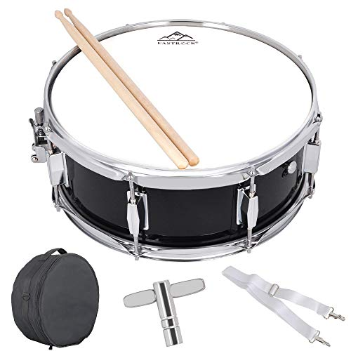 EASTROCK Snare Drum 14 X 5.5inch for Students,Beginners with Gig Bag, Sticks, Drum Keys&Practice Pad Kit, Black