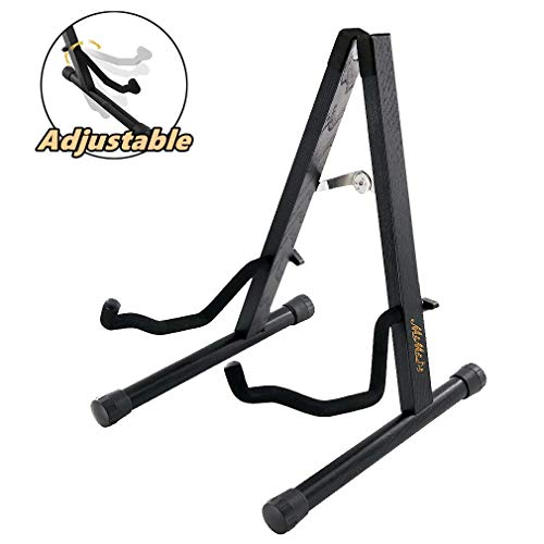 Guitar Stand - MIMIDI Wood Acoustic Guitar Stand, Electric Guitar Stand, Folding A Frame Guitar Floor Stand for Bass Guitar Cello Banjo Mandolin (Black)