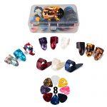 Thumb Finger Picks Plectrum With Plastic Picks Case, 1 Dozen (3 Pairs) SUNLP Celluloid Guitar thumb finger picks Mandolin Banjo thumb finger picks and Free 8pcs 0.46mm Guitar Picks (Mix Color)