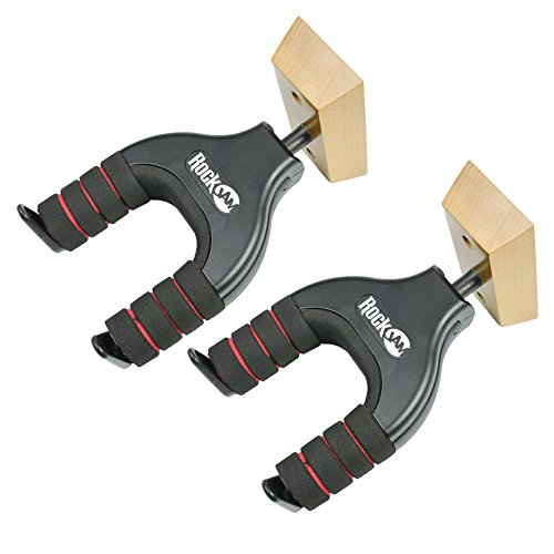 RockJam 2-Pack Guitar Hanger and Wall Mount Bracket Holder for Acoustic and Electric Guitars