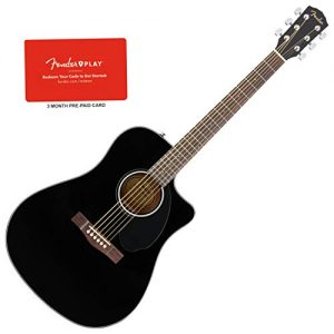 Dreadnought Solid Top Black Acoustic-Electric Guitar