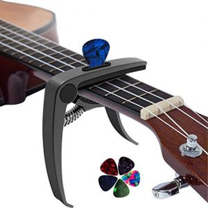 3 in 1 Metal Universal Guitar Capo with 5 Free Picks for Acoustic and Electric Guitars,Ukulele-Glossy Black