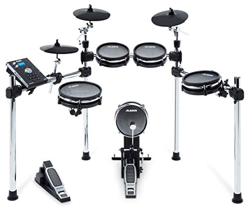 Electronic Drum Kit with Mesh Heads, Chrome Rack